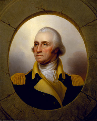 George Washington (Porthole portrait) by Rembrandt Peale, oil on canvas, circa 1823-1860
